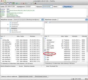 Näkymä FileZilla-ohjelman ikkunasta johon on syötetty palvelimen tiedot.