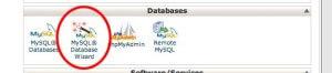 Valitse MySQL® Database Wizard hallintapaneelista