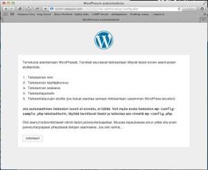 WordPress kertoo mitä tietoja asennuksessa tarvitaan.