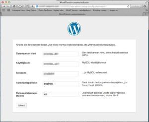 Syötä WordPressin tarvitsemat tietokantatiedot asennusohjelman kenttiin.