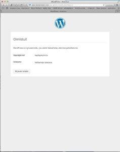 WordPressin asennus on suoritettu loppuun. Kaikki valmista!