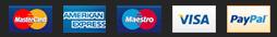 PayPal: MasterCard, American Express, Maestro and Visa
