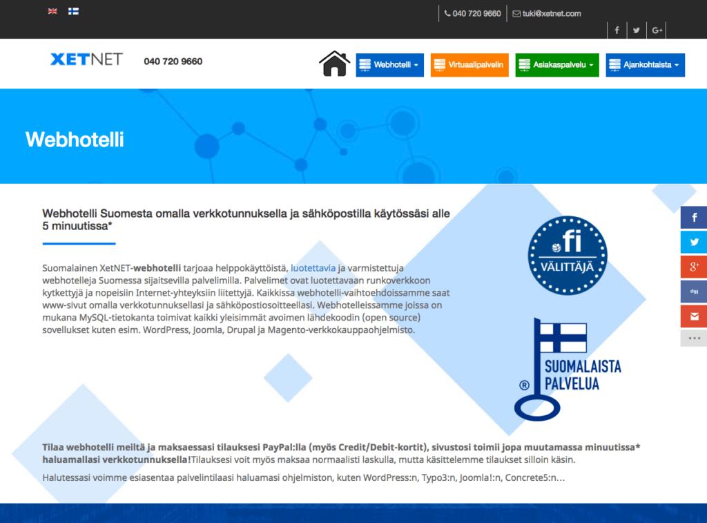 XetNET tarjoaa luotettavan webhotellin Suomesta.