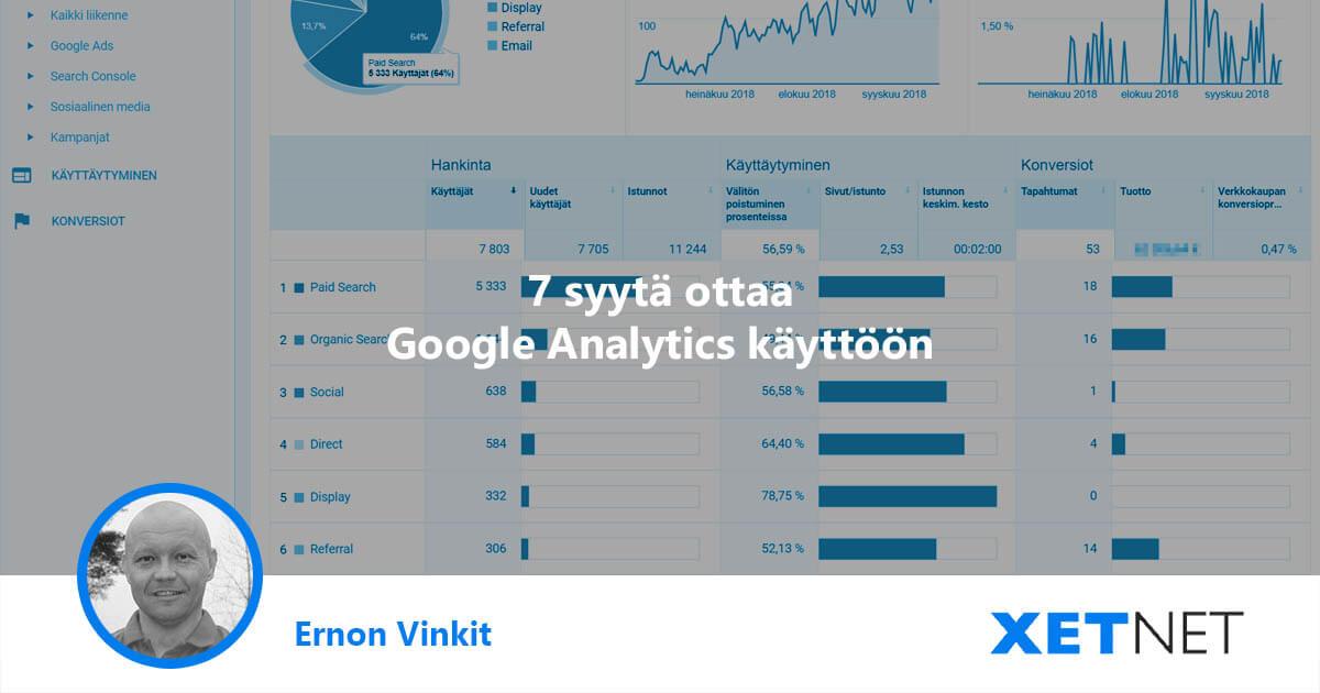 7 syytä ottaa Google Analytics käyttöön