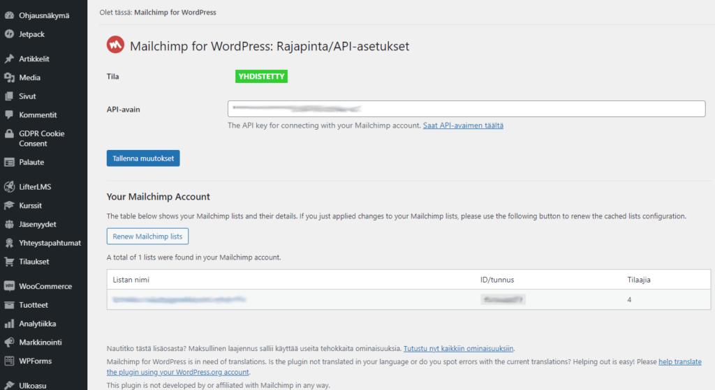 MailChimp for WordPress lisäosaa